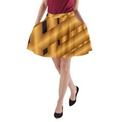 Fractal Background With Gold Pipes A Line Pocket Skirt by Simbadda