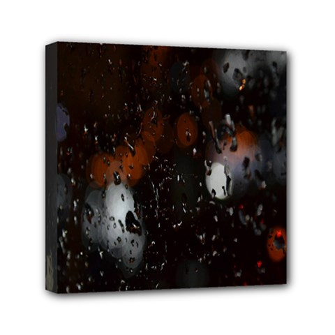 Lights And Drops While On The Road Mini Canvas 6  X 6  by Simbadda