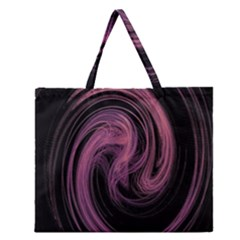 A Pink Purple Swirl Fractal And Flame Style Zipper Large Tote Bag by Simbadda