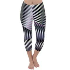 Fractal Zebra Pattern Capri Winter Leggings
