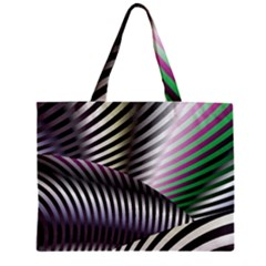 Fractal Zebra Pattern Zipper Mini Tote Bag by Simbadda