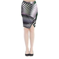 Fractal Zebra Pattern Midi Wrap Pencil Skirt by Simbadda