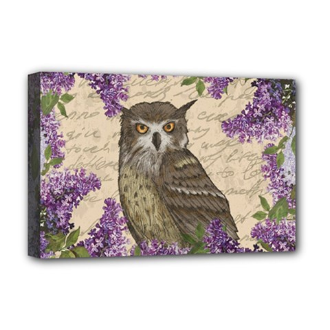 Vintage Owl And Lilac Deluxe Canvas 18  X 12   by Valentinaart