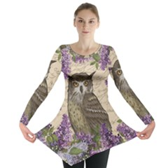 Vintage Owl And Lilac Long Sleeve Tunic  by Valentinaart