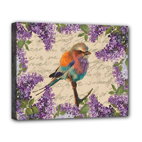 Vintage Bird And Lilac Deluxe Canvas 20  X 16   by Valentinaart