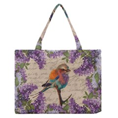 Vintage Bird And Lilac Medium Zipper Tote Bag