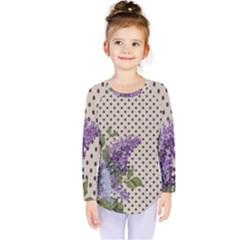 Vintage Lilac Kids  Long Sleeve Tee by Valentinaart