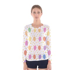 Balloon Star Rainbow Women s Long Sleeve Tee
