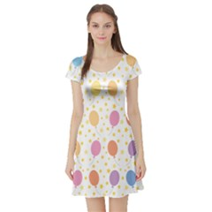 Balloon Star Rainbow Short Sleeve Skater Dress