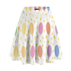 Balloon Star Rainbow High Waist Skirt