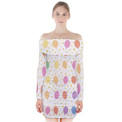 Balloon Star Rainbow Long Sleeve Off Shoulder Dress by Mariart