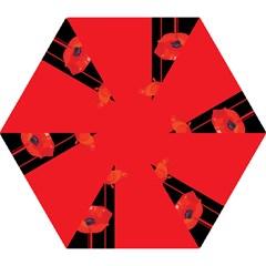 Flower Floral Red Back Sakura Mini Folding Umbrellas