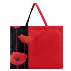 Flower Floral Red Back Sakura Zipper Large Tote Bag