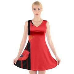 Flower Floral Red Back Sakura V Neck Sleeveless Skater Dress