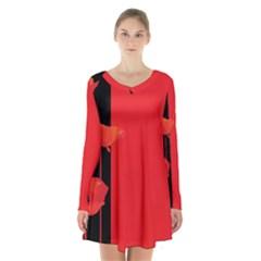 Flower Floral Red Back Sakura Long Sleeve Velvet V Neck Dress by Mariart
