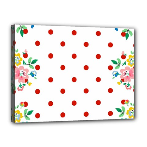 Flower Floral Polka Dot Orange Canvas 16  X 12  by Mariart