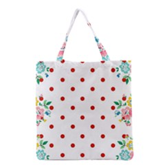 Flower Floral Polka Dot Orange Grocery Tote Bag by Mariart