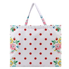 Flower Floral Polka Dot Orange Zipper Large Tote Bag by Mariart