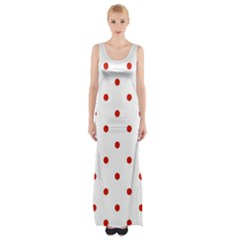 Flower Floral Polka Dot Orange Maxi Thigh Split Dress by Mariart
