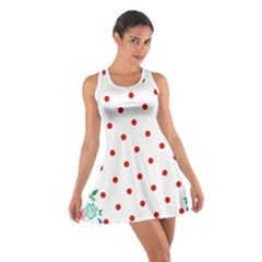 Flower Floral Polka Dot Orange Cotton Racerback Dress by Mariart