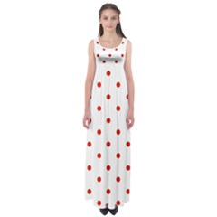 Flower Floral Polka Dot Orange Empire Waist Maxi Dress by Mariart