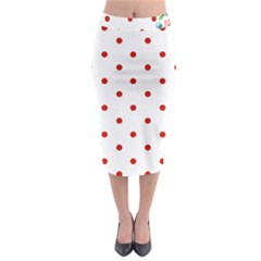 Flower Floral Polka Dot Orange Midi Pencil Skirt by Mariart