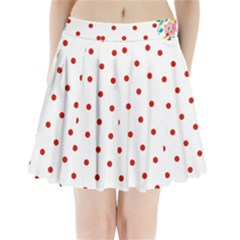 Flower Floral Polka Dot Orange Pleated Mini Skirt by Mariart