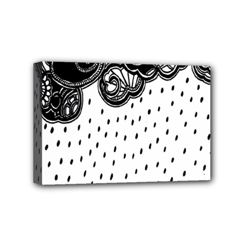 Batik Rain Black Flower Spot Mini Canvas 6  X 4  by Mariart