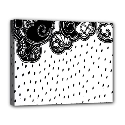 Batik Rain Black Flower Spot Deluxe Canvas 20  X 16   by Mariart