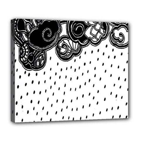 Batik Rain Black Flower Spot Deluxe Canvas 24  X 20   by Mariart