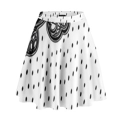Batik Rain Black Flower Spot High Waist Skirt by Mariart