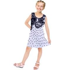 Batik Rain Black Flower Spot Kids  Tunic Dress by Mariart