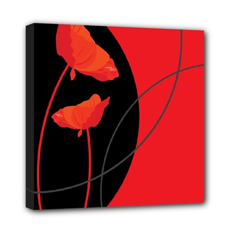 Flower Floral Red Black Sakura Line Mini Canvas 8  X 8  by Mariart
