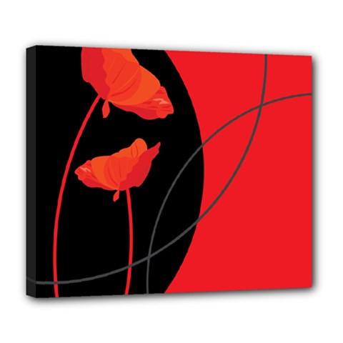 Flower Floral Red Black Sakura Line Deluxe Canvas 24  X 20   by Mariart