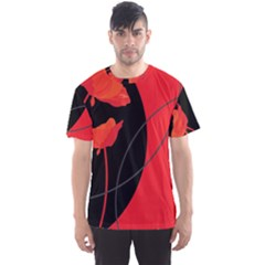 Flower Floral Red Black Sakura Line Men s Sport Mesh Tee by Mariart