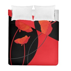 Flower Floral Red Black Sakura Line Duvet Cover Double Side (full/ Double Size) by Mariart