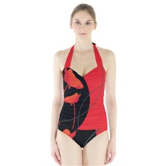 Flower Floral Red Black Sakura Line Halter Swimsuit by Mariart