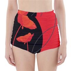 Flower Floral Red Black Sakura Line High Waisted Bikini Bottoms by Mariart