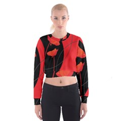 Flower Floral Red Black Sakura Line Women s Cropped Sweatshirt