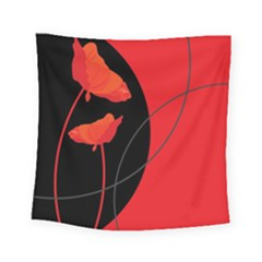 Flower Floral Red Black Sakura Line Square Tapestry (small) by Mariart