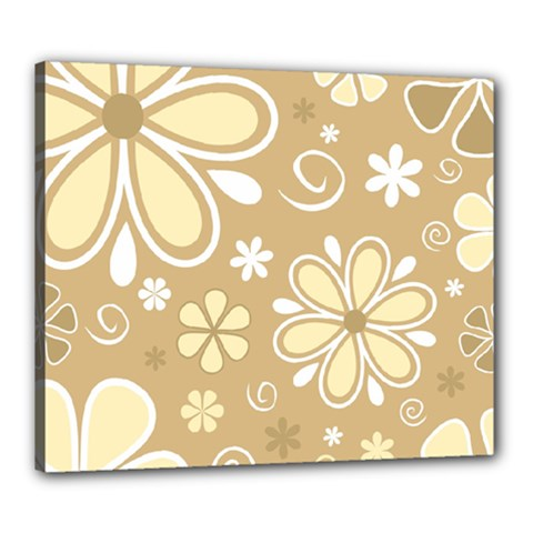 Flower Floral Star Sunflower Grey Canvas 24  X 20  by Mariart