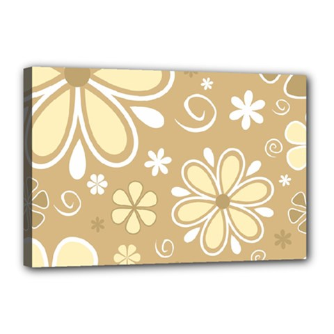 Flower Floral Star Sunflower Grey Canvas 18  X 12  by Mariart