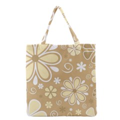 Flower Floral Star Sunflower Grey Grocery Tote Bag by Mariart