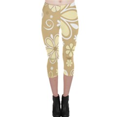 Flower Floral Star Sunflower Grey Capri Leggings  by Mariart