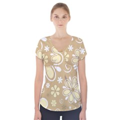 Flower Floral Star Sunflower Grey Short Sleeve Front Detail Top by Mariart