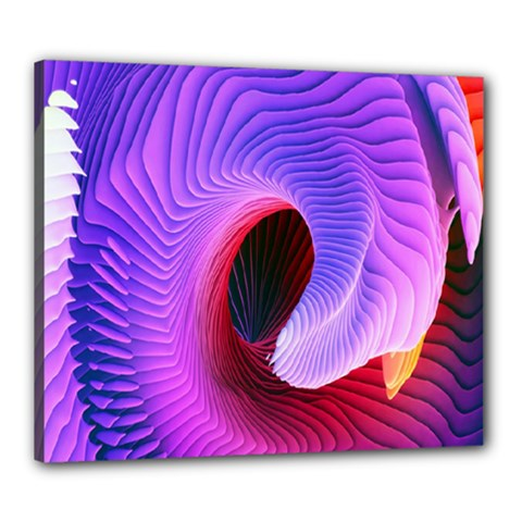 Digital Art Spirals Wave Waves Chevron Red Purple Blue Pink Canvas 24  X 20  by Mariart