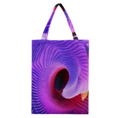 Digital Art Spirals Wave Waves Chevron Red Purple Blue Pink Classic Tote Bag by Mariart