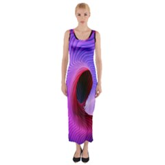 Digital Art Spirals Wave Waves Chevron Red Purple Blue Pink Fitted Maxi Dress by Mariart
