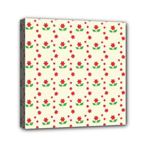 Flower Floral Sunflower Rose Star Red Green Mini Canvas 6  X 6  by Mariart