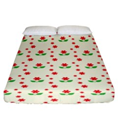 Flower Floral Sunflower Rose Star Red Green Fitted Sheet (king Size) by Mariart